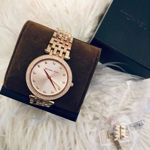 MK yellow gold tone watch w/ crystals